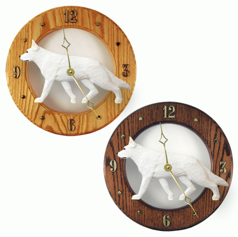 German Shepherd Wood Wall Clock Plaque Wht