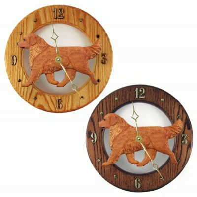 Golden Retriever Wood Clock Wall Plaque Dark