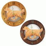 Golden Retriever Wood Wall Clock Plaque Light