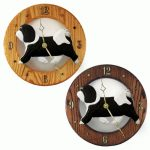 Havanese Wood Wall Clock Plaque Blk/Wht