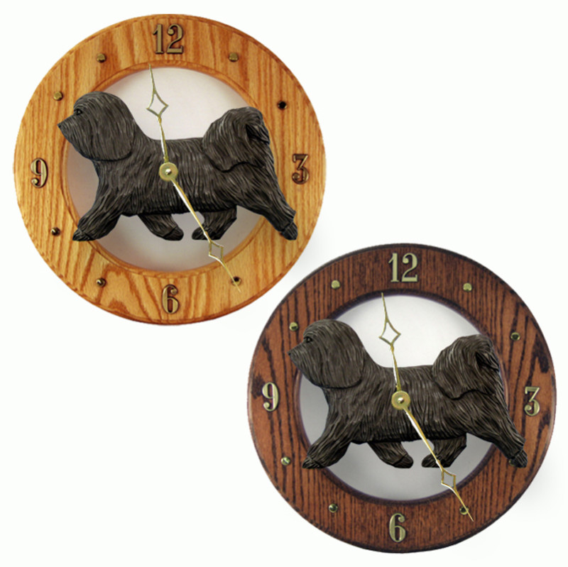 Havanese Wood Wall Clock Plaque Dark Grey