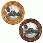 Havanese Wood Wall Clock Plaque Grey/Wht
