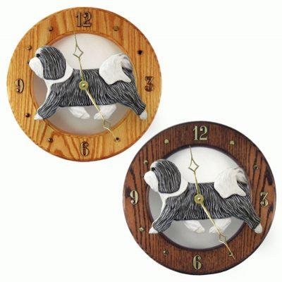 Havanese Wood Wall Clock Plaque Grey/Wht 1