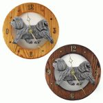 Havanese Wood Wall Clock Plaque Light Grey