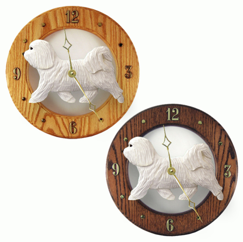 Havanese Wood Wall Clock Plaque Wht