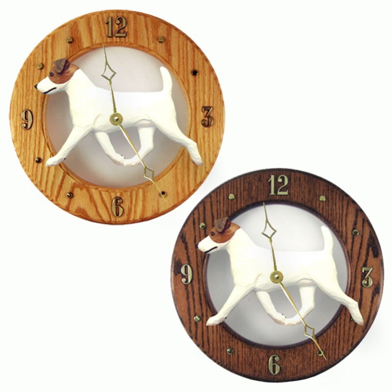 Jack Russell Terrier Wood Clock Wall Plaque Brown/White