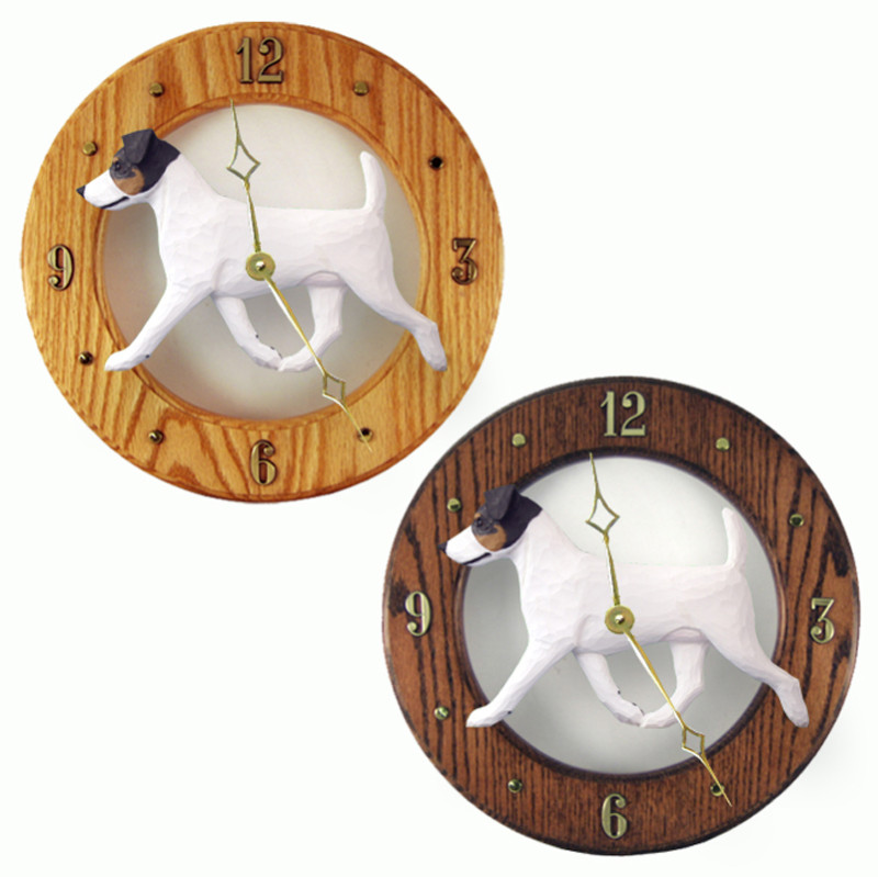 Jack Russell Terrier Wood Wall Clock Plaque Tri