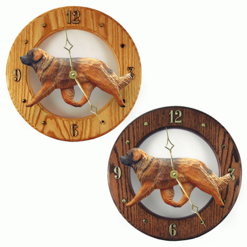 Leonberger Wood Wall Clock Plaque