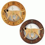 Mastiff Wood Wall Clock Plaque Fawn