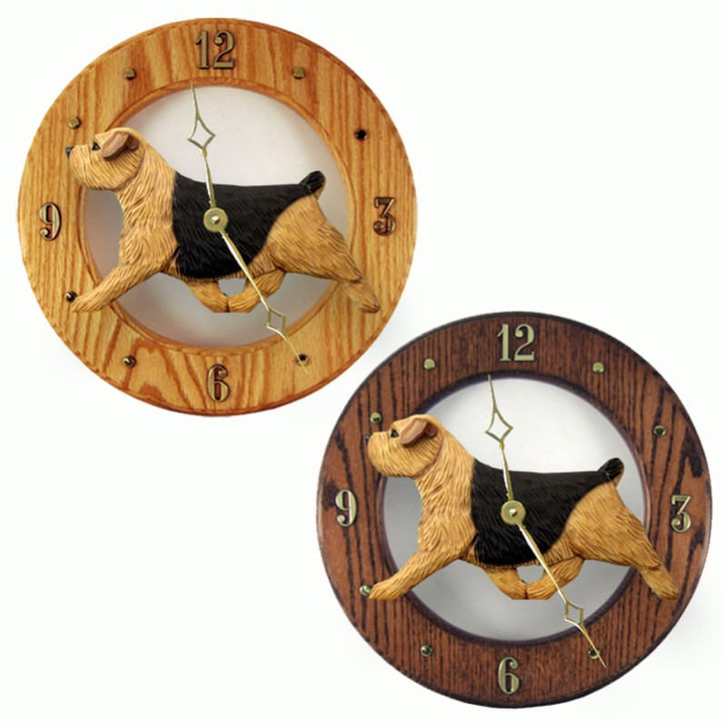 Norfolk Terrier Wood Wall Clock Plaque Blk/Tan