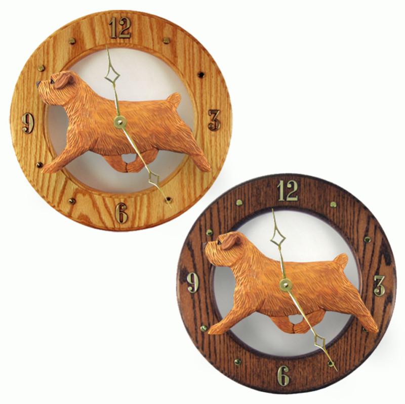 Norfolk Terrier Wood Wall Clock Plaque Red