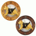 Norwich Terrier Wood Wall Clock Plaque Blk/Tan