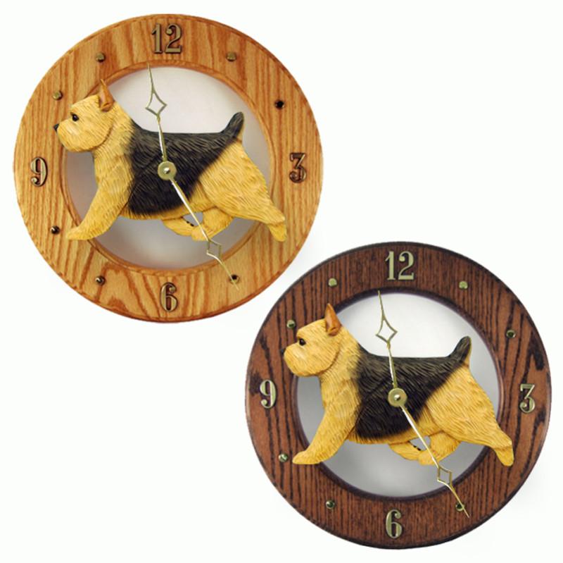 Norwich Terrier Wood Wall Clock Plaque Blk/Tan