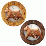 Norwich Terrier Wood Wall Clock Plaque Red