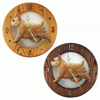 Norwich Terrier Wood Wall Clock Plaque Wheaten