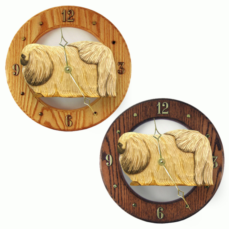 Pekingese Wood Wall Clock Plaque Fawn