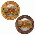 Pekingese Wood Wall Clock Plaque Red