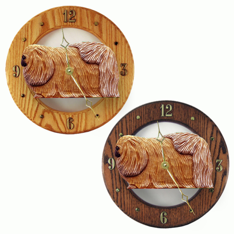 Pekingese Wood Wall Clock Plaque Sable
