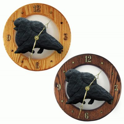 Pomeranian Wood Wall Clock Plaque Blk