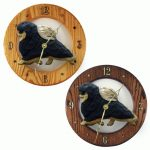 Pomeranian Wood Wall Clock Plaque Blk/Tan 1