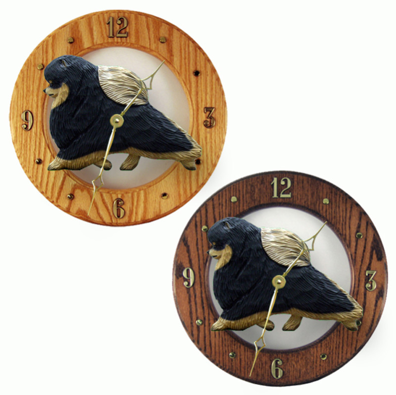 Pomeranian Wood Wall Clock Plaque Blk/Tan
