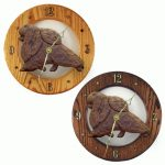 Pomeranian Wood Wall Clock Plaque Brn