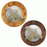 Pomeranian Wood Wall Clock Plaque Cream