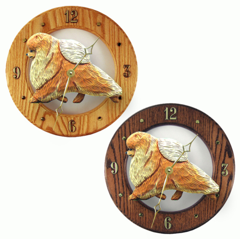 Pomeranian Wood Clock Wall Plaque Orange