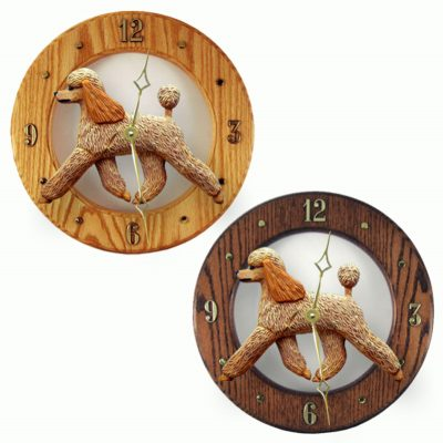 Poodle Wood Wall Clock Plaque Apricot