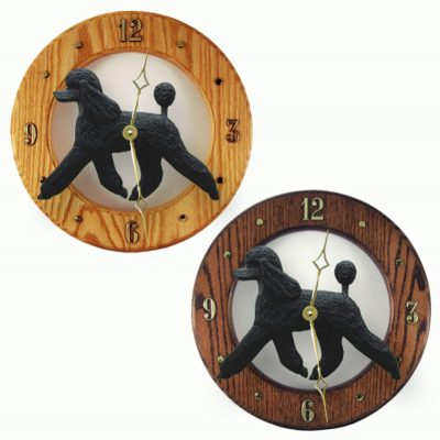 Poodle Wood Wall Clock Plaque Blk