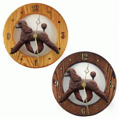 Poodle Wood Wall Clock Plaque Brn 1