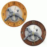 Poodle Wood Wall Clock Plaque Grey 1