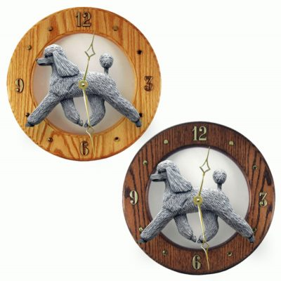 Poodle Wood Wall Clock Plaque Grey