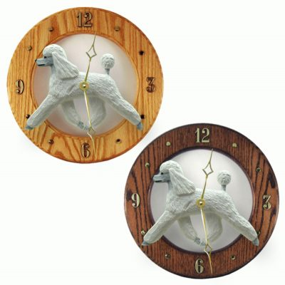 Poodle Wood Wall Clock Plaque Wht
