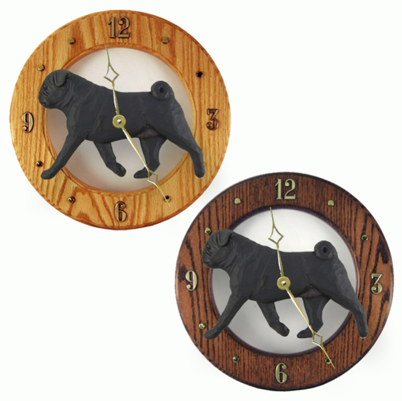 Pug Wood Wall Clock Plaque Blk