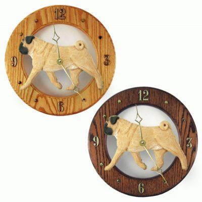 Pug Wood Clock Wall Plaque Fawn