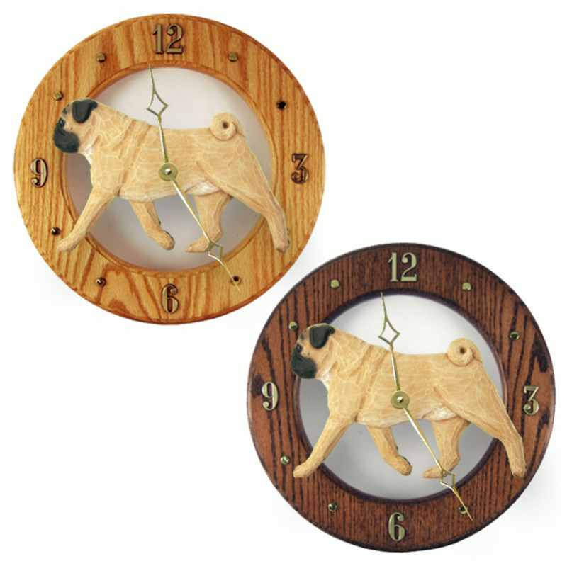 Pug Wood Clock Wall Plaque Fawn