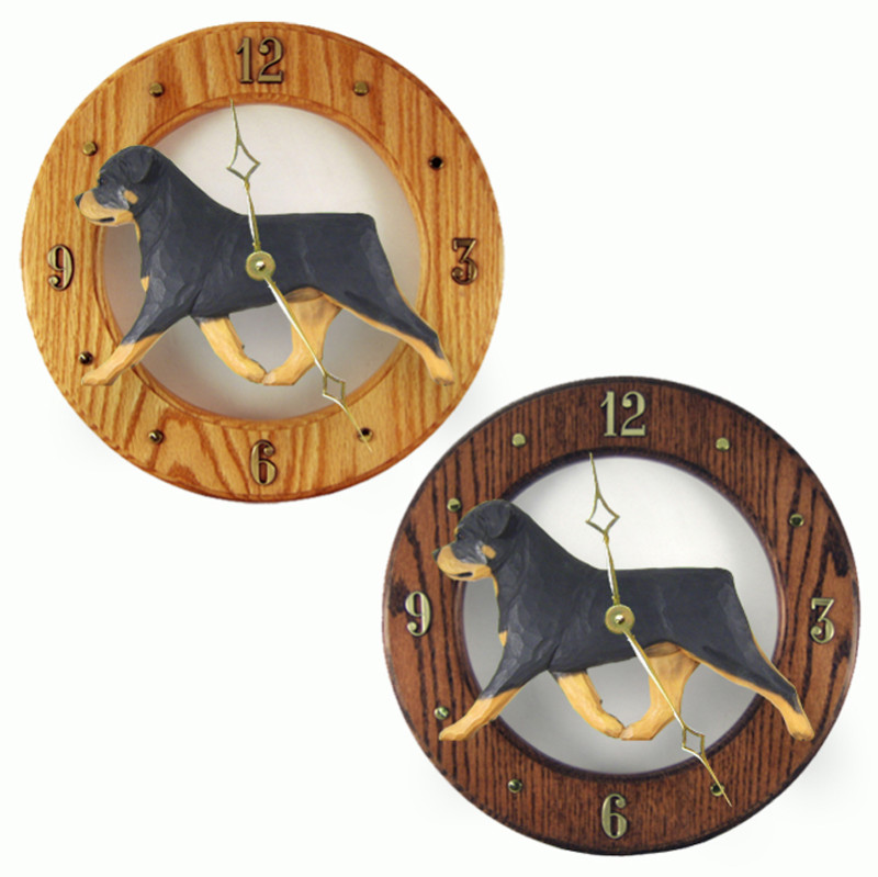 Rottweiler Wood Clock Wall Plaque
