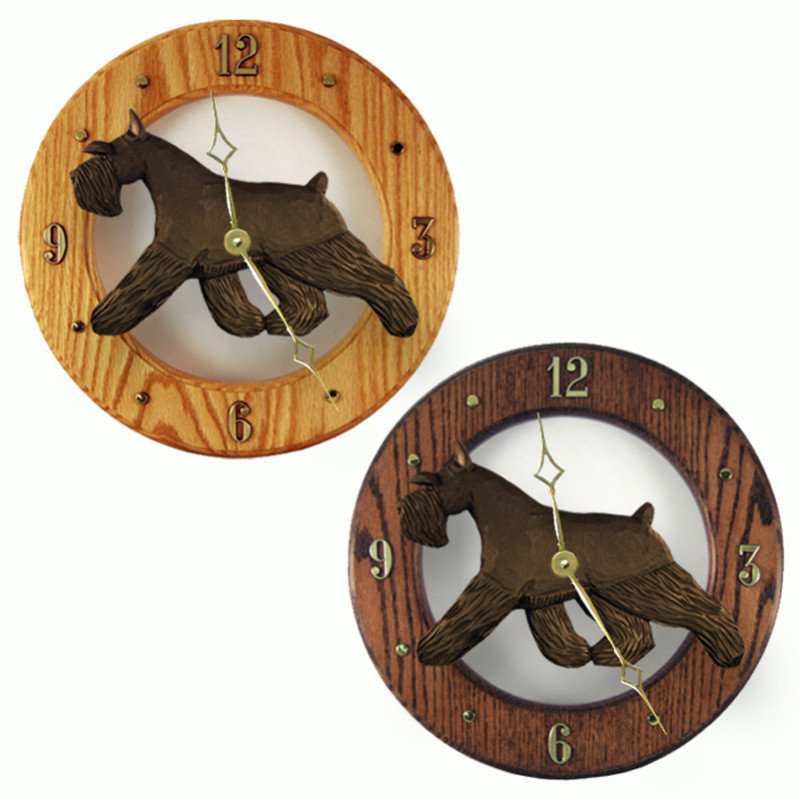 Schnauzer Wood Clock Wall Plaque Black