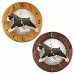 Schnauzer Wood Wall Clock Plaque Blk/Silv 1