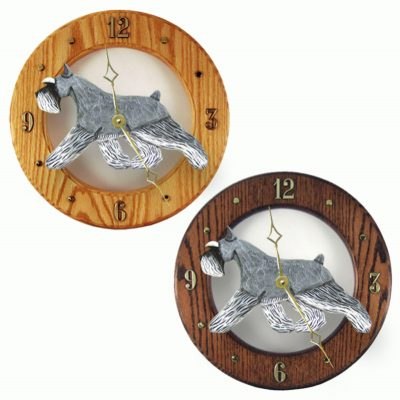 Schnauzer Wood Wall Clock Plaque Salt/Pep