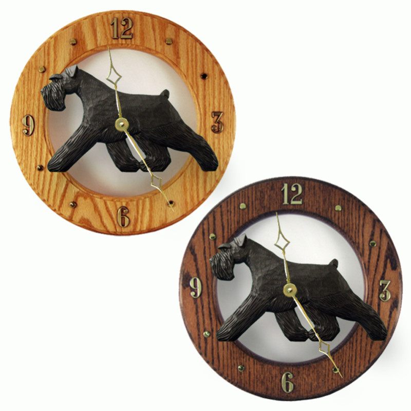 Schnauzer Wood Wall Clock Plaque Blk Uncrop