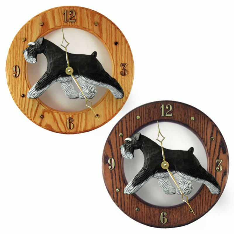 Schnauzer Wood Wall Clock Plaque Blk/Silv Uncrop