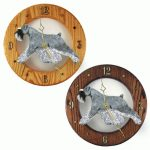 Schnauzer Wood Wall Clock Plaque Salt/Pep Uncrop