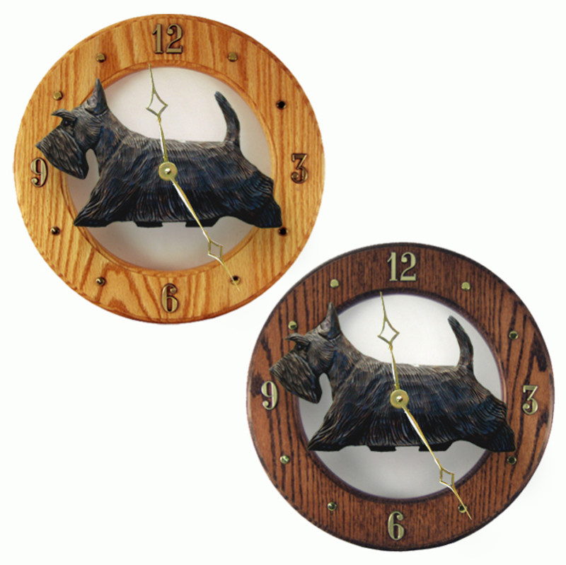 Scottish Terrier Wood Clock Wall Plaque Black