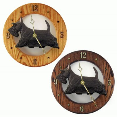 Scottish Terrier Wood Wall Clock Plaque Brindle
