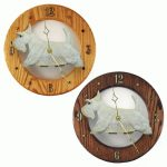 Scottish Terrier Wood Wall Clock Plaque Wheaten