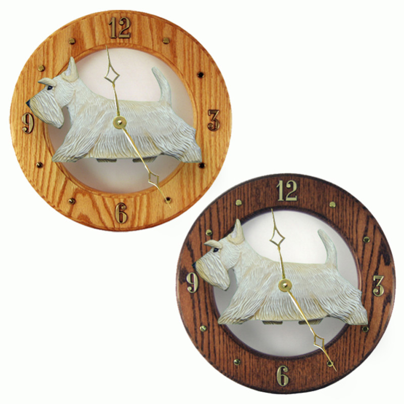 Scottish Terrier Wood Wall Clock Plaque Wheaten