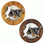 Shetland Sheepdog Wood Wall Clock Plaque Blue