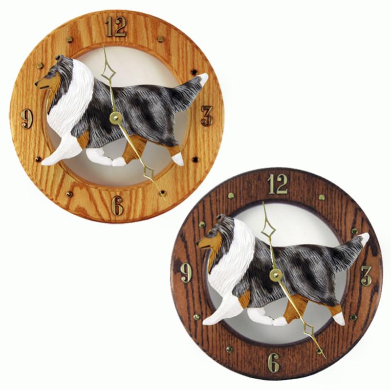 Shetland Sheepdog Wood Wall Clock Plaque Blue